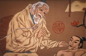 Gemälde eines chinesischen Arztes, der einen Mann behandelt